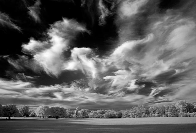 Unsettled sky over Great Embankment Park (infrared)