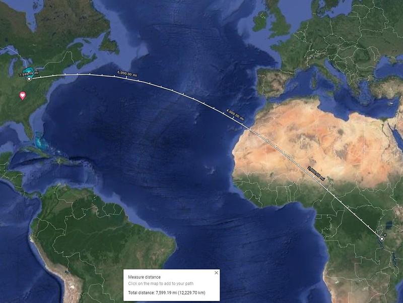 Google Map from Kent to Tanzania