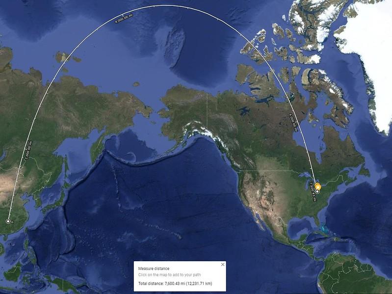 Google Map from Kent to China (Westward)
