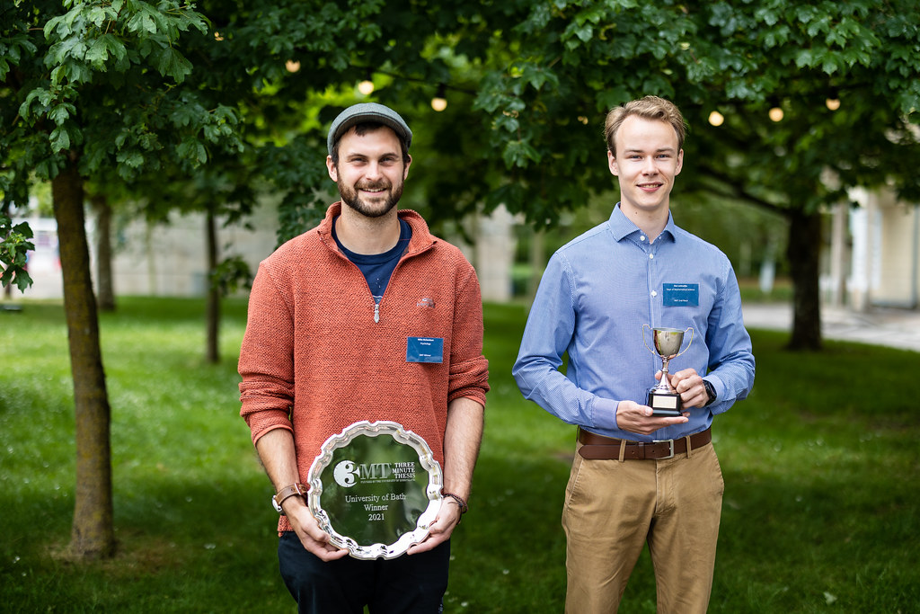 The winner, Mike Richardson and second place, Bas Lodewijks of our 3MT® 2021 competition