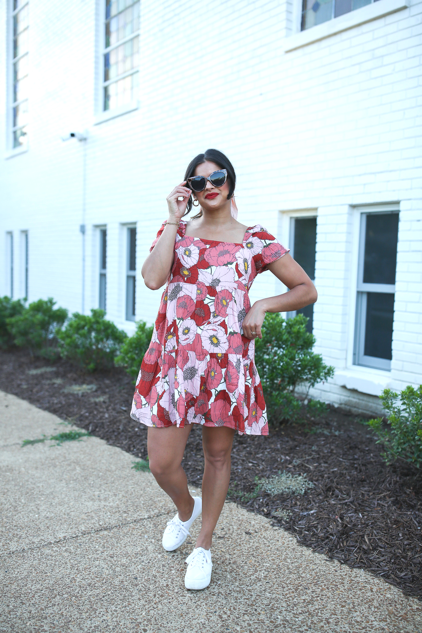 Priya the Blog, Nashville fashion blog, Nashville fashion blogger, Nashville style blog, Nashville style blogger, Summer fashion, LOFT style, loveLOFT, 70's style dress, platform Supergas, how to wear platform sneakers, Stila Beso, Stila Liquid Lipstick in Beso, 70's inspired Summer outfit