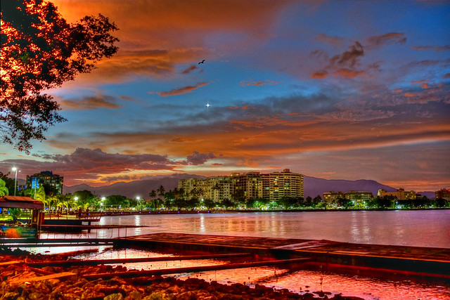 Cairns at Dusk featuring Venus and a Solitary Bat - Feb 2, 2015