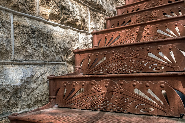 Late 19th Century Ornamental Iron Stairway, Georgetown, TX