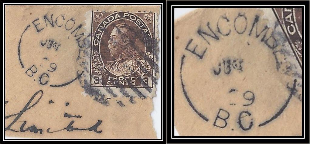British Columbia / B.C. Postal History - 29 June (1922 to 1925) - ENCOMBE, B.C. (split ring / broken circle cancel / postmark) on piece