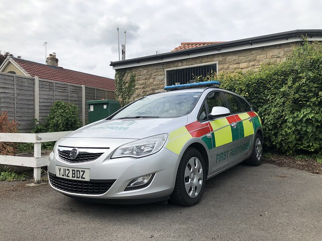YJ12BDZ Vauxhall Astra Estate started its service with North Yorkshire Police. In early 2019 it was converted into First Responder Car. Crewed by retained Firefighters trained by Yorkshire AS. Seen at Pickering Fire Station 20/06/2021.