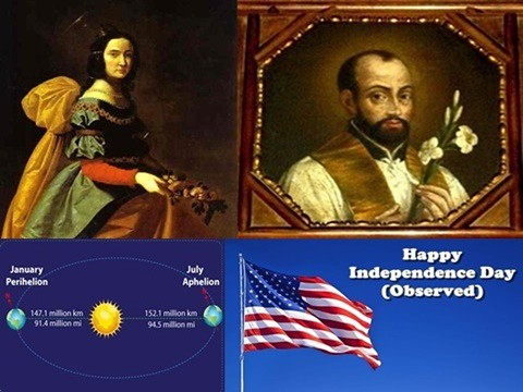 Elizabeth (Isabel) of Portugal by Francisco de Zurbarán and Anthony Mary Zaccaria and Earth Aphelion and Perihelion and Independence Day (Observed)
