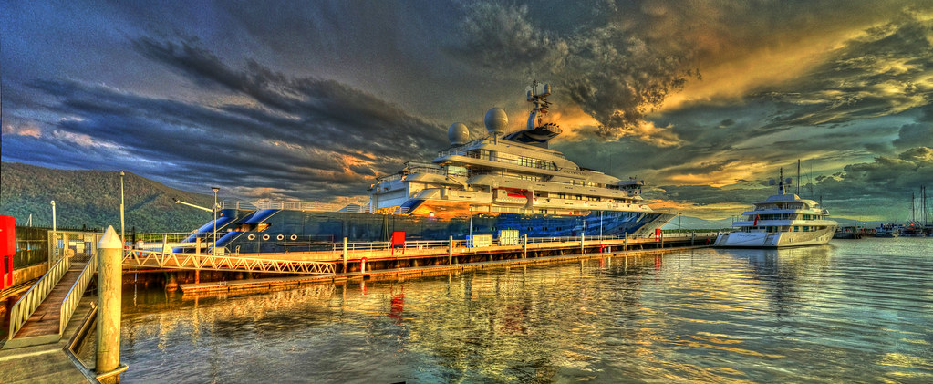 The Private Yacht's Octopus and Meridian at Sunset as a Storm Approaches - Feb 2, 2015