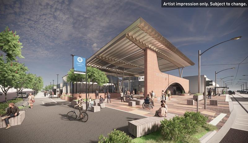 Artist impression: new Glenhuntly station entrance and forecourt (June 2021)