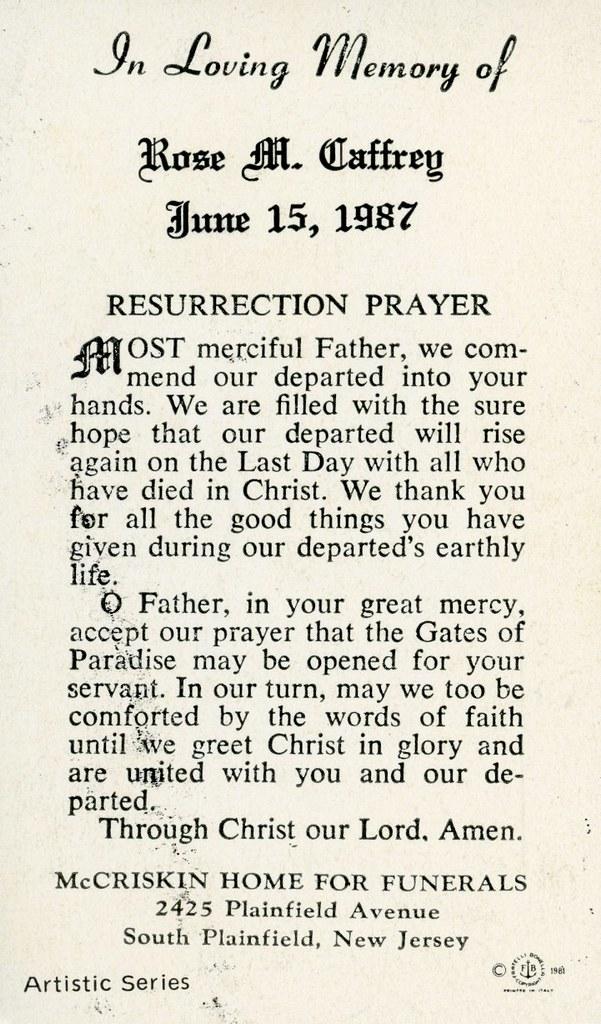 Rose M. Caffrey. Memorial Card.