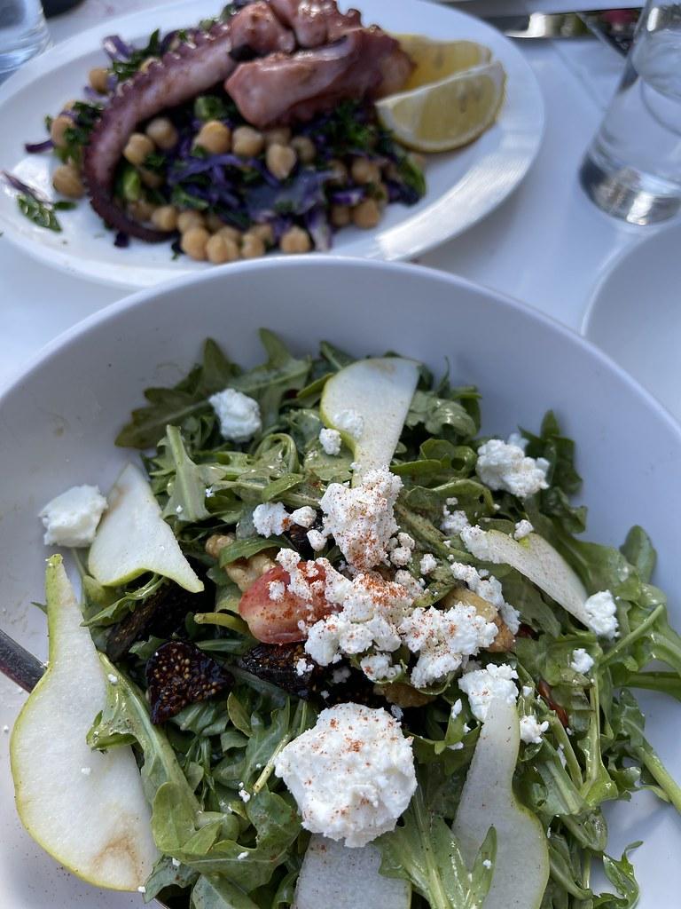 Fig & Feta Salad & Octopus over Garbanzo Beans