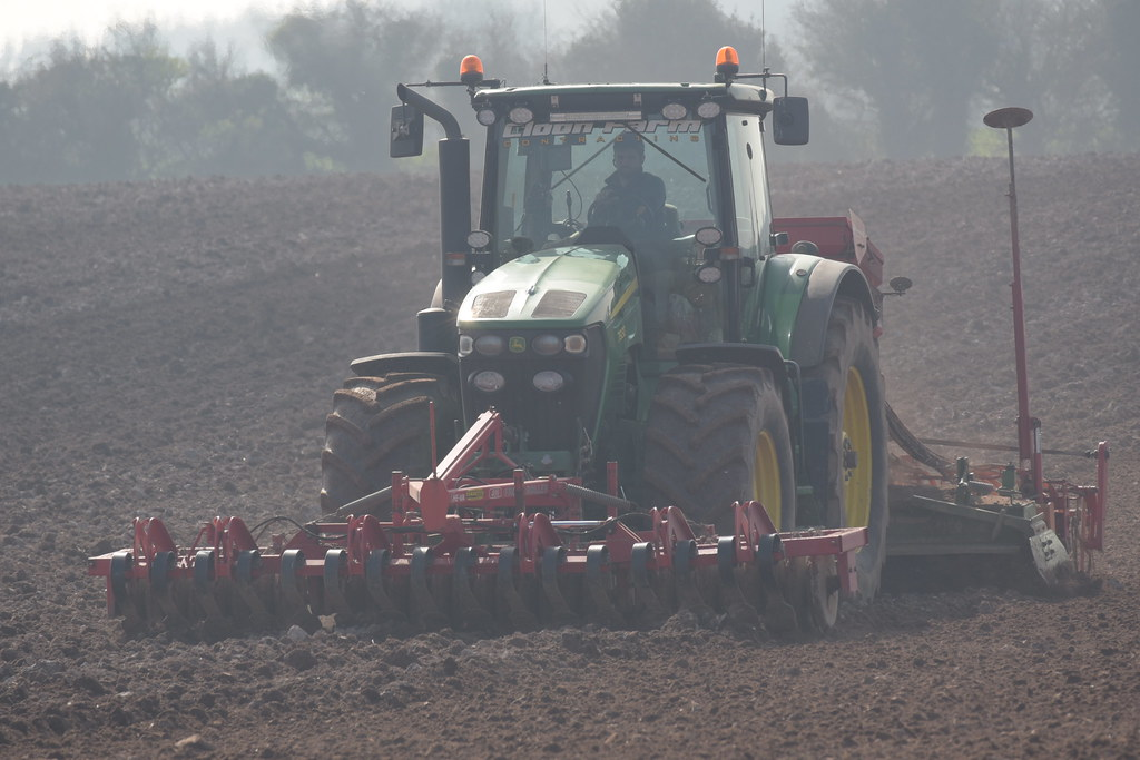 John Deere 7930 Tractor with a HE-VA Front Roller 400 Front Press, an Amazone Power Harrow & Kverneland Accord S-Drill Seed Drill