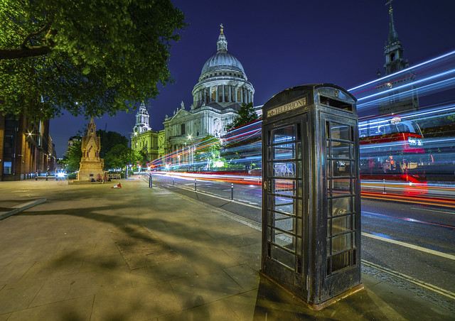 St. Paul's Cathedral & Black Telephone Box on Cannon St. (Explored)