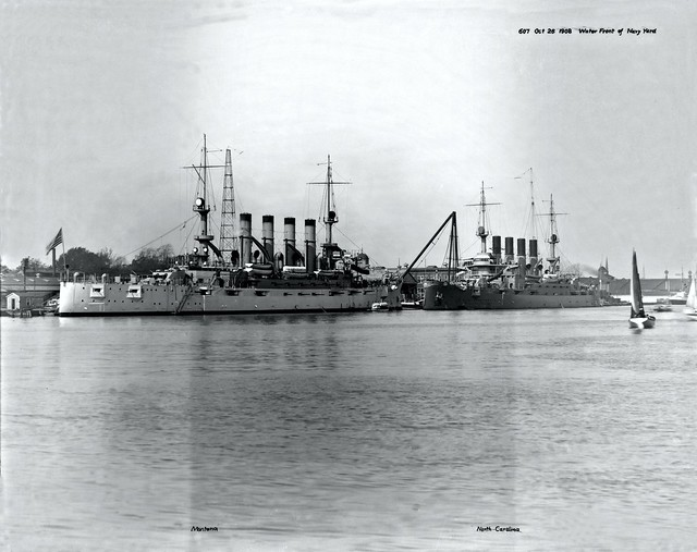 USS Montana (Armored Cruiser No13) (left) and USS North Carolina (Armored Cruiser No. 12) (right), moored at Norfolk Navy Yard on 26 October 1908.