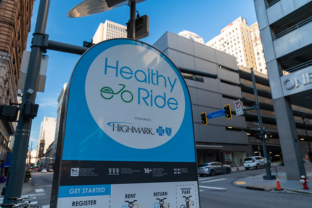 Healthy Ride Bike Sharing Station in Downtown Pittsburgh