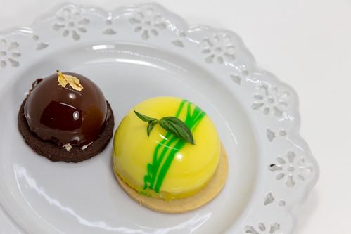 Lemon-Basil and Chocolate Mousse cake