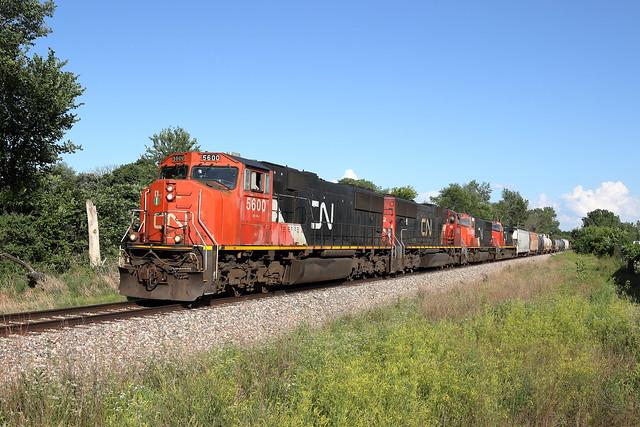 CN 5600 west in Genoa, Illinois on June 19, 2021.