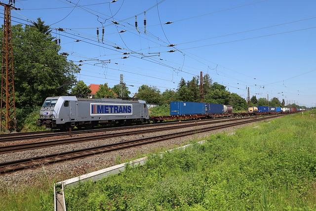 Metrans 386 038-4 Containerzug, leipzig-Wiederitzsch