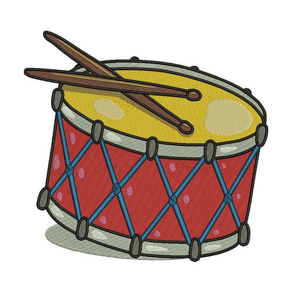 RED TENOR MARCHING DRUM BASS MUSICAL INSTRUMENT EMBROIDERY DESIGN