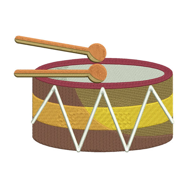 MARCHING BASS DRUM MUSICAL INSTRUMENT EMBROIDERY DESIGN