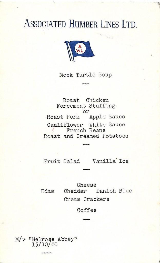 Associated Humber Lines restaurant menu  October 1960 MV Melrose Abbey