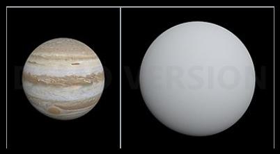 VCSE - A Jupiter (balra) és a HAT-P-36 (jobbra) bolygók méretarányosan szemléltetve. Láthatóan a HAT-P-36b mintegy 36%-kal nagyobb a mi Jupiterünk méreténél. - Forrás: wikipedia