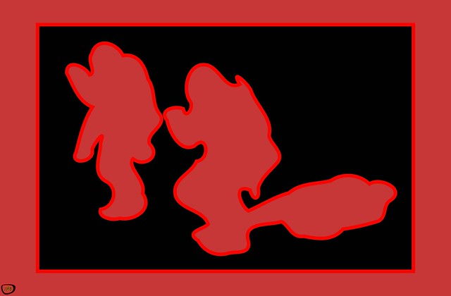 3 Red Ghosts Behind the Wall 12k