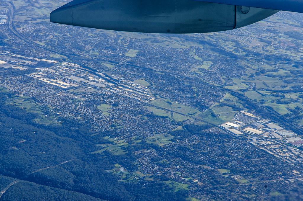 Over Ingleburn industrial area