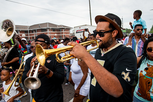 James Williams with Perfect Gentlemen Second Line Parade on June 20, 2021. Photo by Ryan Hodgson-Rigsbee.