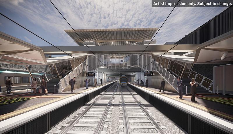 Artist impression: new Glenhuntly station platforms (June 2021)