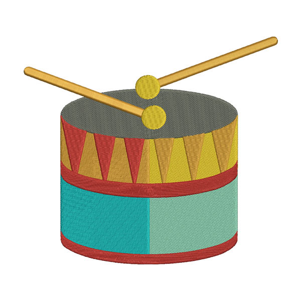 TENOR MARCHING DRUM BASS MUSICAL INSTRUMENT EMBROIDERY DESIGN