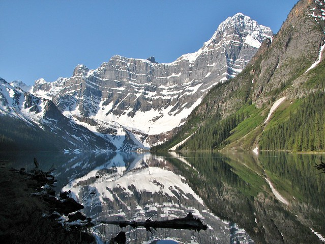 A beautiful shot of Chephren Lake.   Near Waterfowl Lakes, Icefields Parkway, Banff National Park, AB