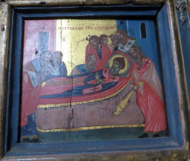 Mort de Spiridon, chapelle St Spiridon, XVIIIe siècle, église serbe orthodoxe de St Luc, Kotor, Monténégro.