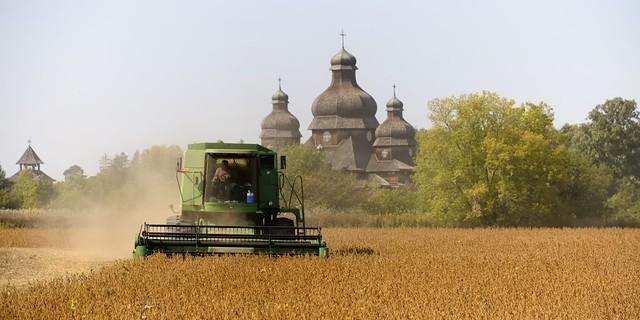 Grain harvesting in front of Saint Elias the Prophet Ukrainian Catholic Church, Brampton, Ontario