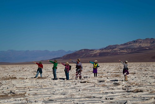 Hikers on Badwater Salt Flats, Death Valley National Park, California