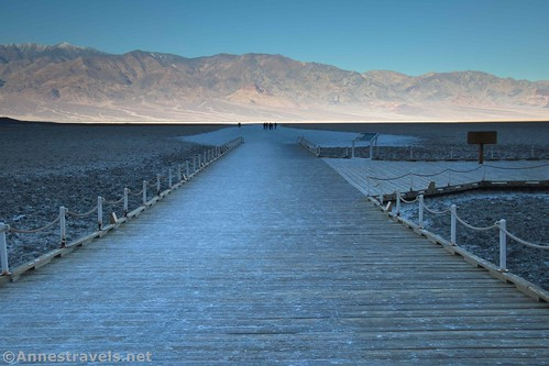 Badwater boardwalk in the early morning, Death Valley National Park, California