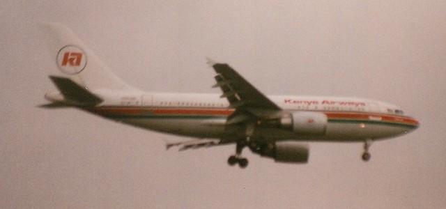 Kenya Airways at LHR 1991 (scan)