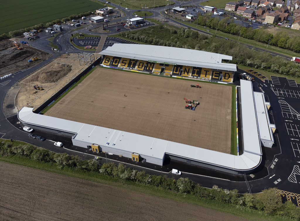 Boston United Football Club aerial image - their new Jakemans Community Stadium - Lincolnshire UK