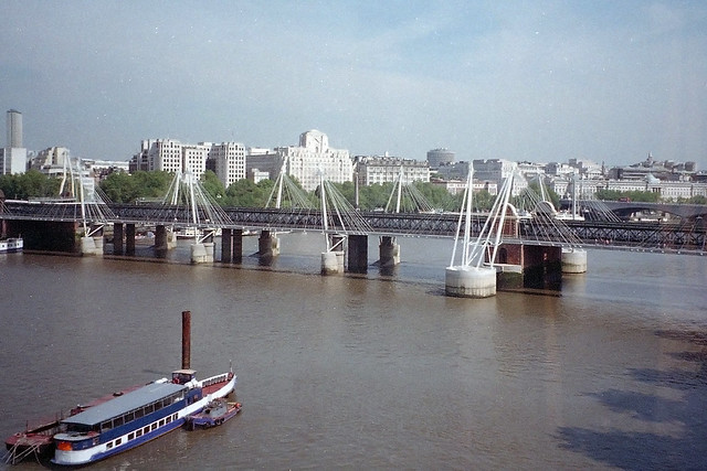 Hungerford Bridge from the London Eye, 7th June 2004