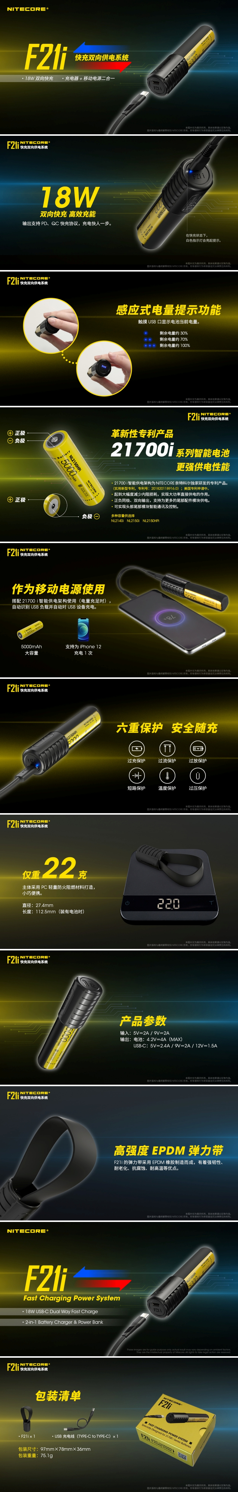NITECORE F21i iSeries Battery Charger and USB-C Powerbank