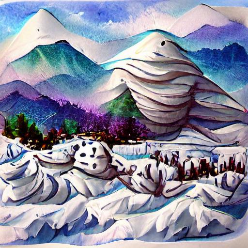'snowy mountain landscape' VQGAN+CLIP v4 Text-to-Image