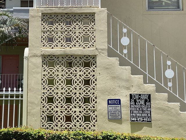 Midcentury Perforated Concrete Block and Wrought Iron Railing
