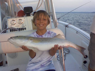 Photo of boy on a boat holding a striped bass