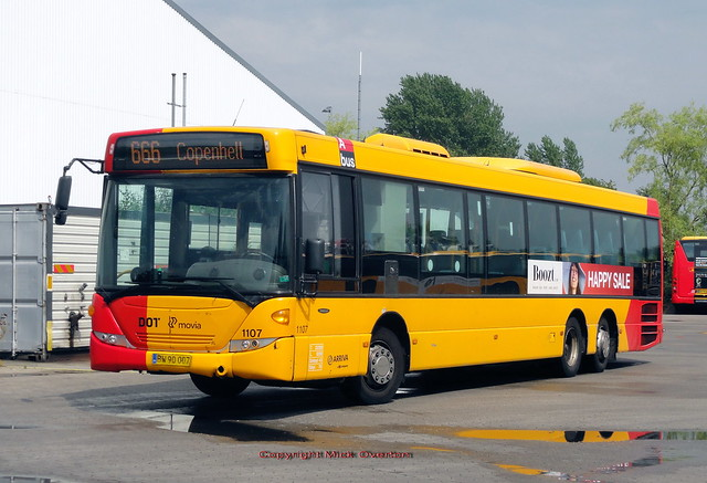 Copenhell Festival route 666 isnt operating in 2021 but remains on destinations as shown here by Scania 1107 still wearing its 2011 factory paint
