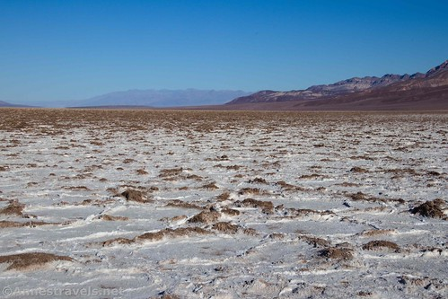 Brown and white salt flats looking north, Badwater Flats, Death Valley National Park, California