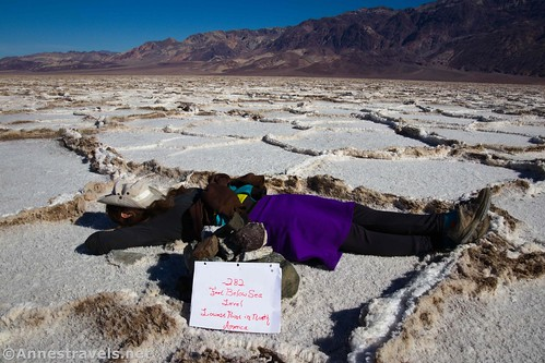 Resting next to the pile of rocks that marks the lowest point in North America, Death Valley National Park, California