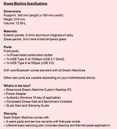 Specifications for the Dreamcore Dream Machine.