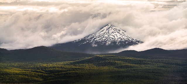 Mt Bachelor Hugged By Clouds