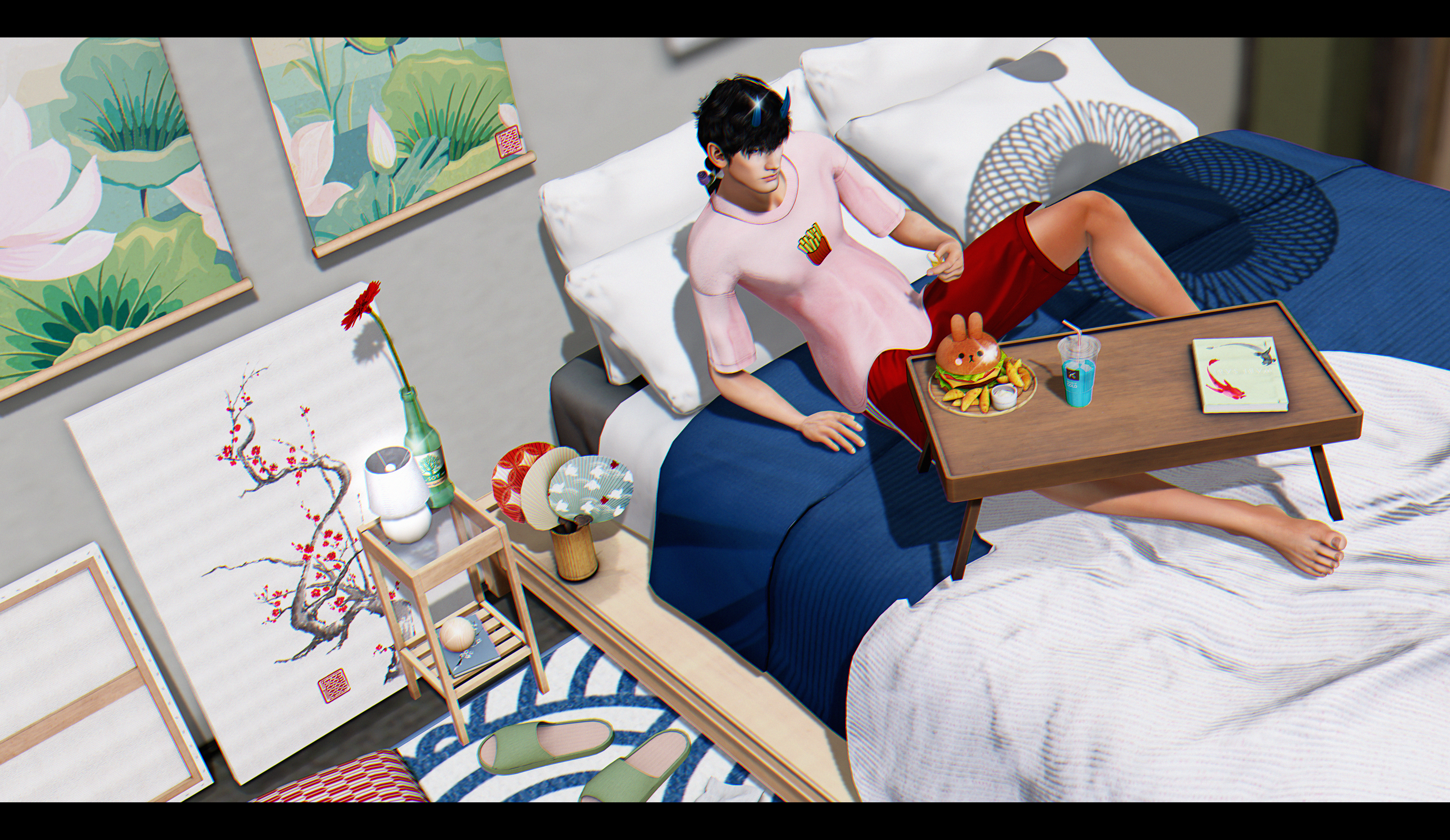 . eating in bed .