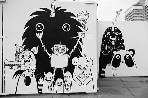 Schwarzweiß Graffiti