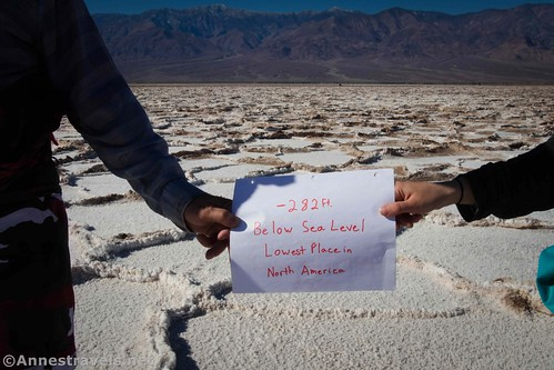 We made a sign to prove we'd been to the Lowest Point!  Death Valley National Park, California